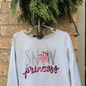 Snow princess silver striped shirt